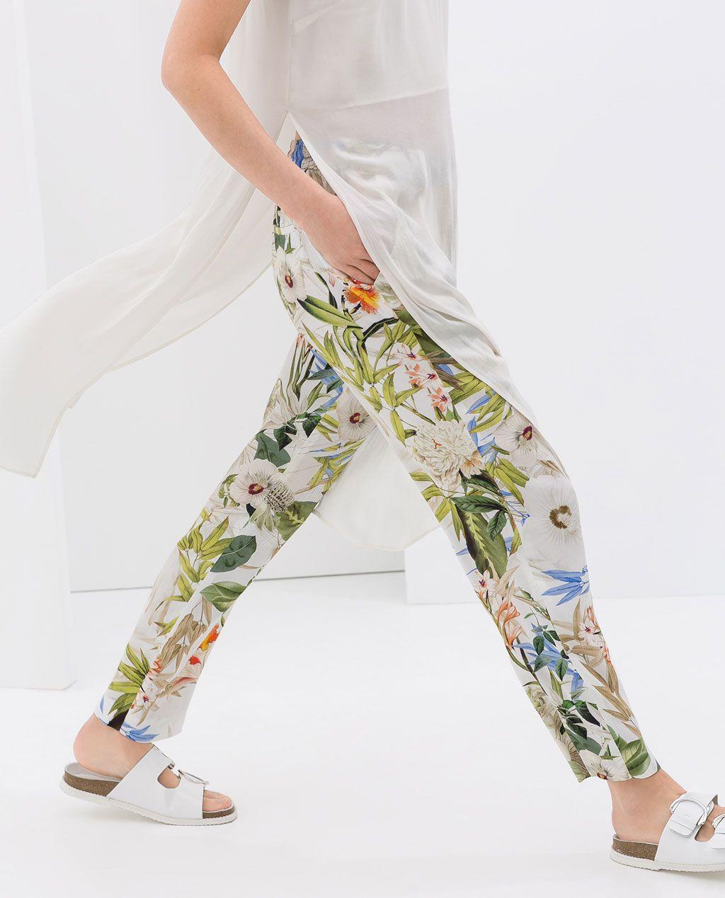 Photo of FLOWER PRINT TROUSERS – Trousers – WOMAN | ZARA Taiwan