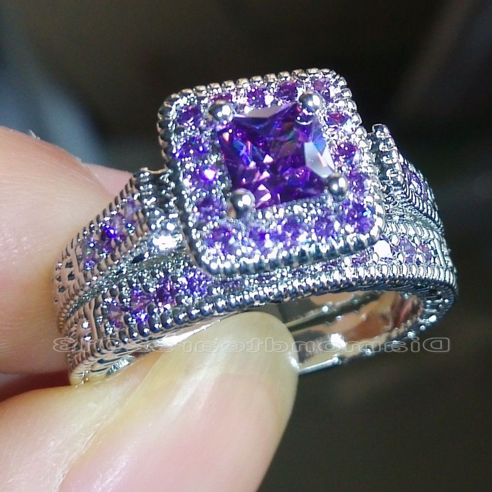 Cubic Zirconia Wedding Rings Size 5 6 7 8 9 10 Princess Cut Luxury Trendy