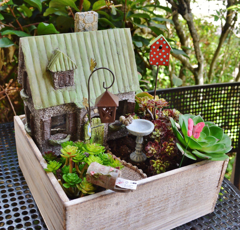Miniature Fairy Garden Planter Wooden Box Garden Kit Cottage