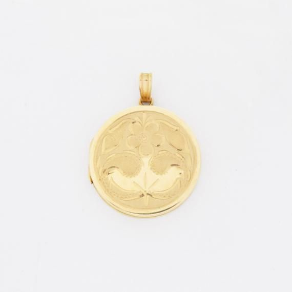 14k Yellow Gold Vintage Etched Flower Design Circle Locket Pendant | Jewelry Is Me:Great Holiday Gif#14k #circle #design #etched #flower #gif #gold #holiday #jewelry #locket #megreat #pendant #vintage #yellow