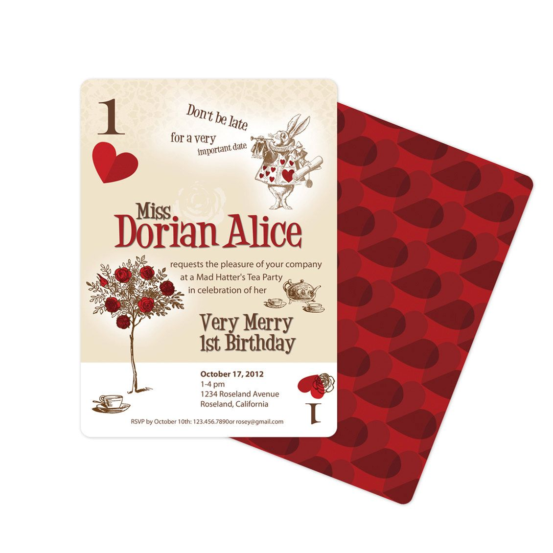 Alice in Wonderland Invitation Playing Card