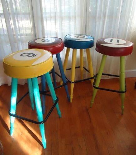 Vge Mid Century Modern MUELLER Bar Stools Table Ball Billard Retro Chairs  Set 4