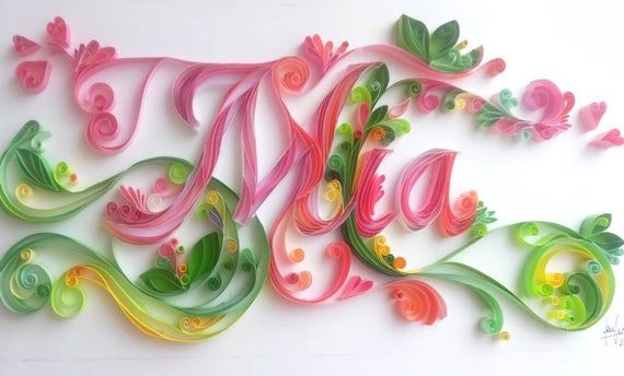 Photo of Items similar to Handmade personalised paper quilling name, gift,