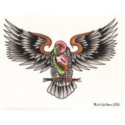 Buzzard By Rick Walters Desert Vulture Bird Tattoo Canvas Art Print Papeis De Parede Para Iphone Urubu Papeis De Parede