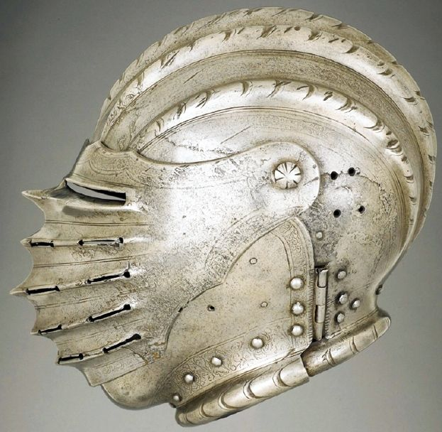German close-helmet, c. 1530 iron or steel, embossed and etched, weight: 3.15 kg, The Wallace Collection.