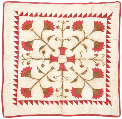 "Brunk Auctions - Crib quilt, late 19th/early 20th c, 38 x 38"" Bob Timberlake Collection"