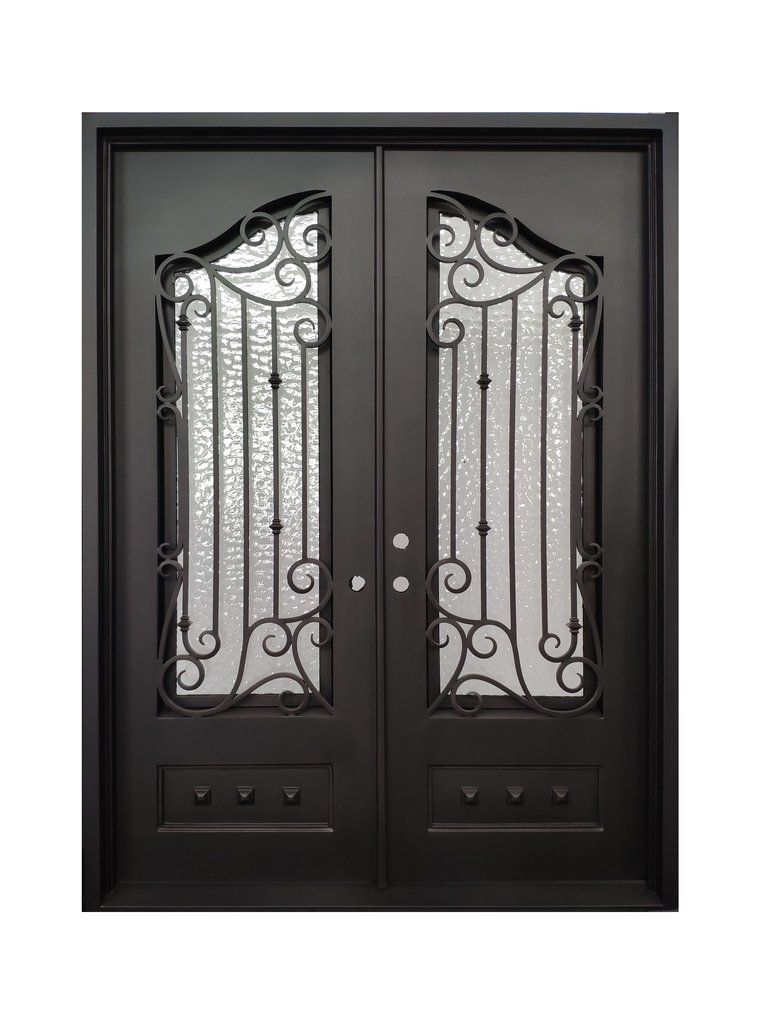 Bailey Double Front Entry Wrought Iron Door Water Cubit Glass 72