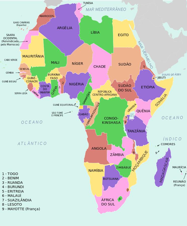 mapa da africa Divisão política da África Mapa político da África   África  mapa da africa