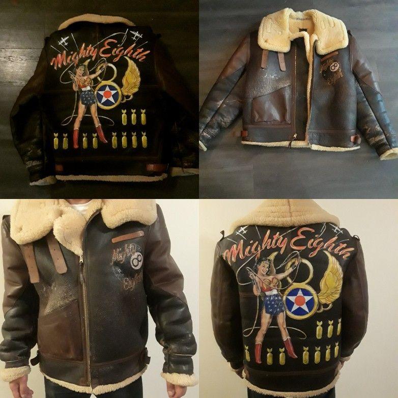 Hand painted Aero leather B3 B3 bomber flight jacket free