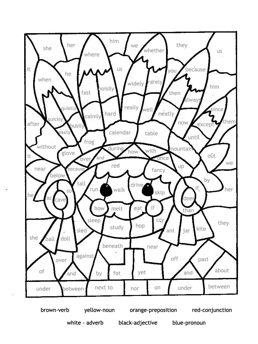 mosaic coloring pages for parts of speech | Paint by Part of ...