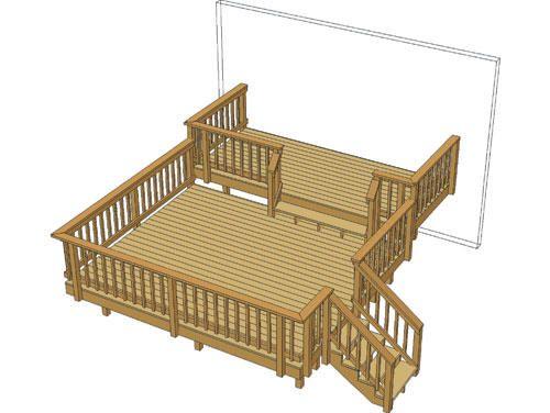 14 X 12 Deck W 14 X 6 Step Up At Menards With Images Corner Deck Deck Small Garden Design