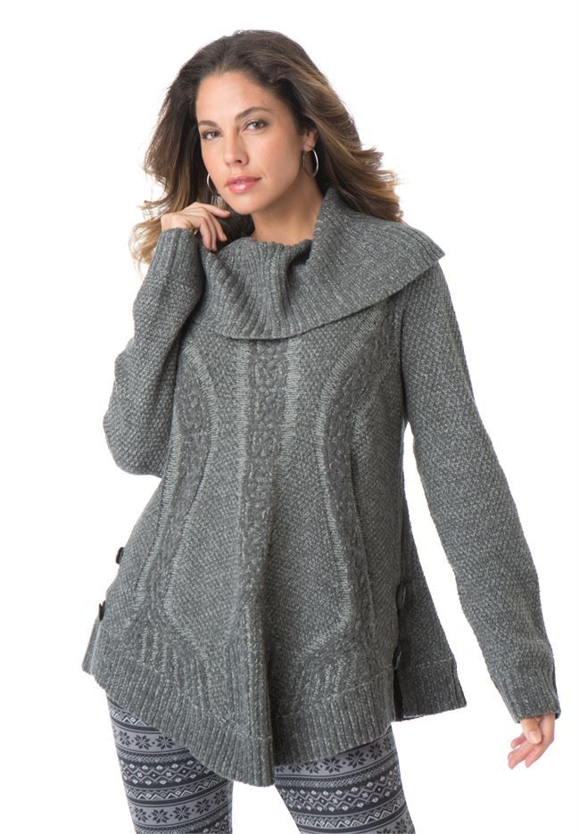 Cowl Neck Cable Pullover by Denim 24/7®