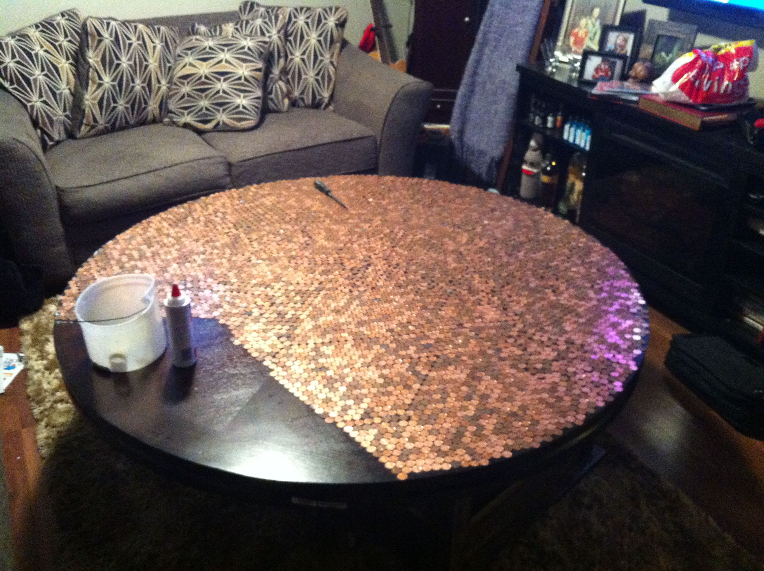 Extra Pennies, Table Top, Glue And Epoxy. Future Outdoor Table