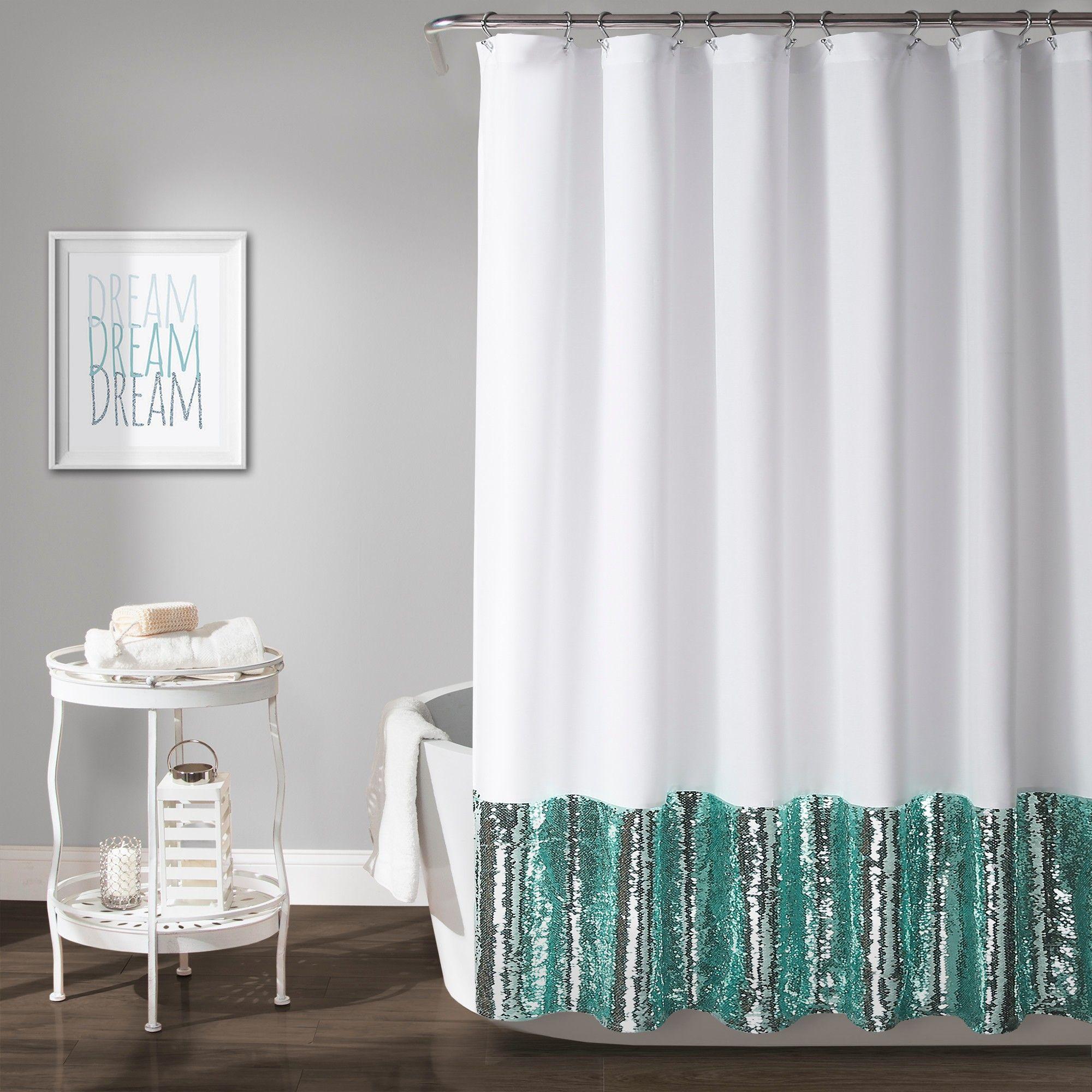Mermaid Sequins Spa Shower Curtain White Teal Lush Decor
