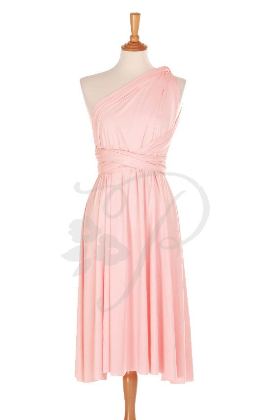 Short Straight Hem Bridesmaid Dress Infinity Dress Blush Knee Length ...