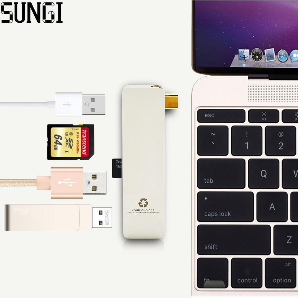 New High Speed Type C To Usb 30 Hub Charging Port Ultra Slim 5 In 1 Orico Mini 4 8 Inch Cable Adapter Card Reader Aluminum Alloy For Laptop Apple Macbook