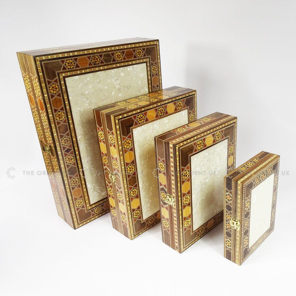 Handmade Eastern Syrian Inlaid Mosaic Wooden Gift Jewllery Trinket Box 39x29x9cm