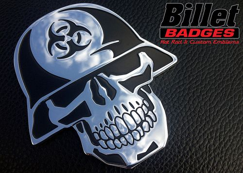 "BioHazard Helmet Skull 1/8"" Custom polished with black paint fill. For more info visit www.billetbadges.com  #billetbadges #biohazard #skull #emblem #custom #madeinusa"