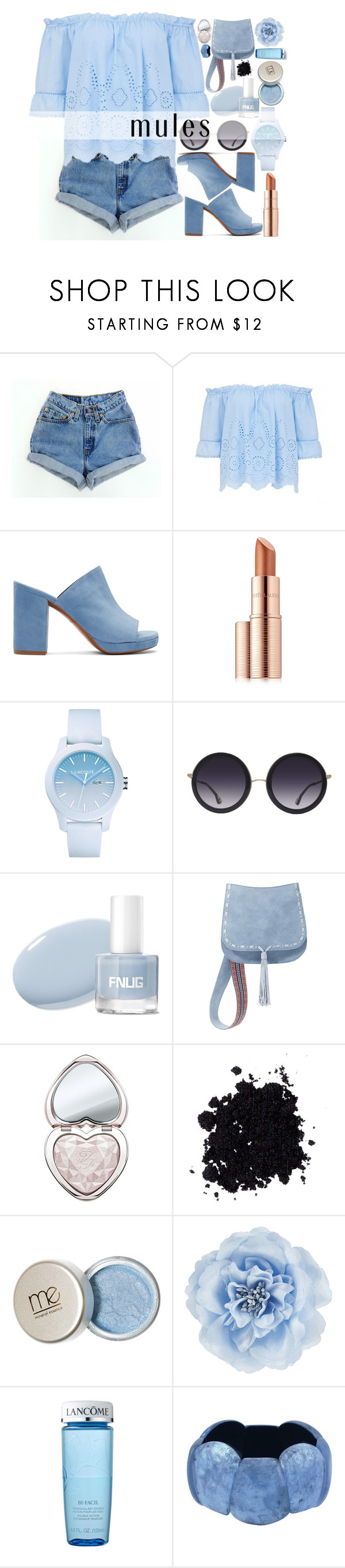 """""""Mules"""" by fangirl-preferences ❤ liked on Polyvore featuring Levi's, Robert Clergerie, Estée Lauder, Lacoste, Alice + Olivia, Steve Madden, Too Faced Cosmetics, Monsoon, Lancôme and shoes"""