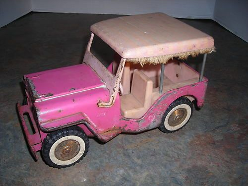 Vintage 1960s Pink Jeep Surry Fringe Tonka Truck Old Metal Toy Truck