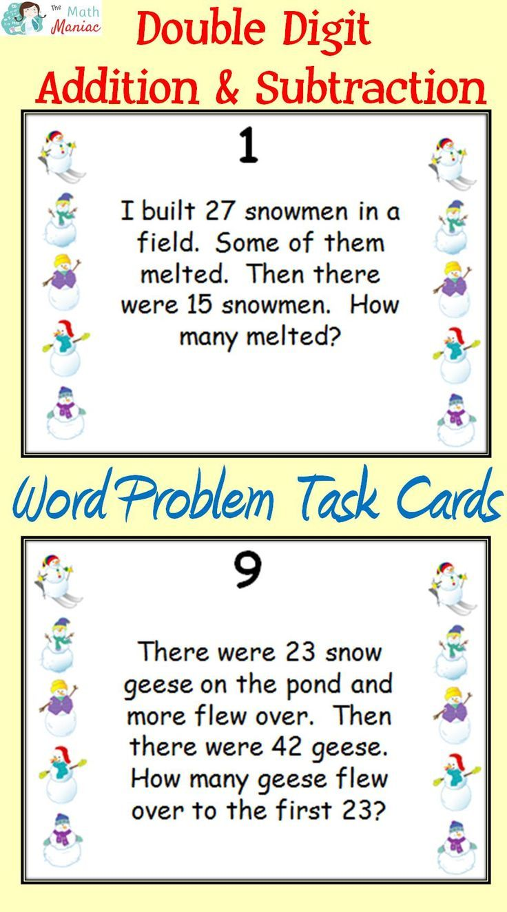 worksheet Double Digit Subtraction Word Problems winter themed addition and subtraction word problems task cards grades 2 3