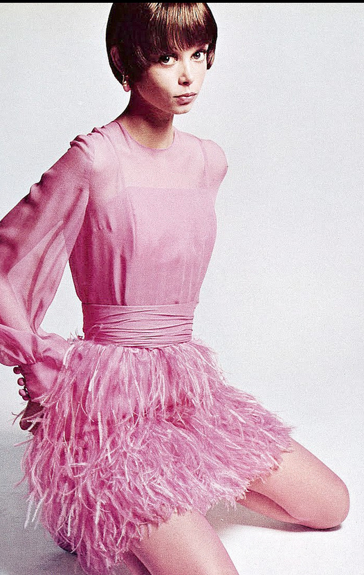 1968 Mouche Is Wearing Pink Mousseline Dress With Ostrich Feather Skirt By Valentino Boutique Photo Jeanloup Sieff Vogue Italia November
