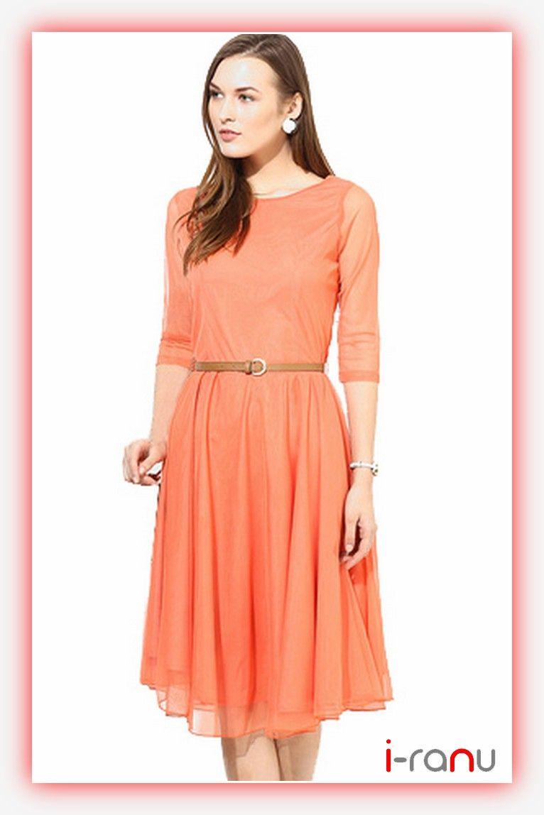 66016c5e194f Straight orange net sheath dress for girls