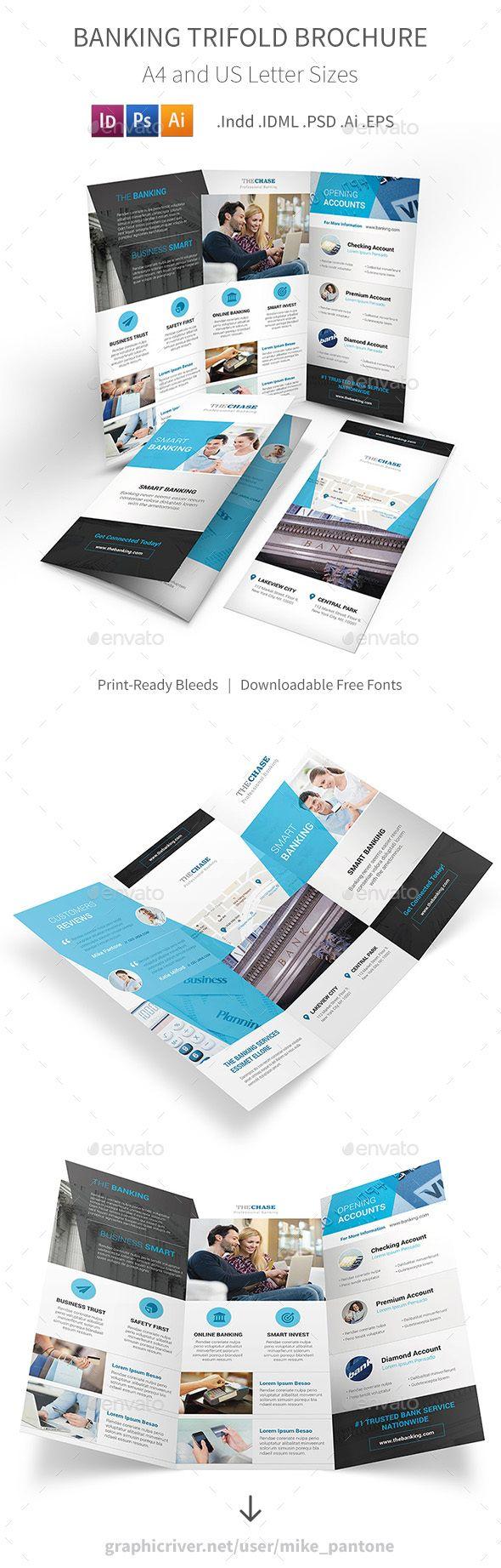 Banking Trifold Brochure Brochures Brochure Template And Ai - Tri fold brochure template illustrator
