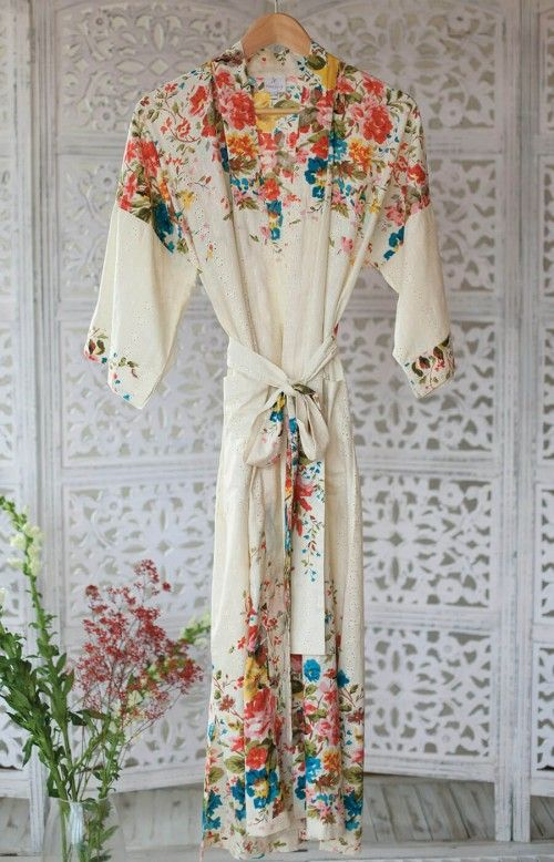 Orchard Blossom Women's Long Cotton Broderie Anglaise Kimono Dressing Gown
