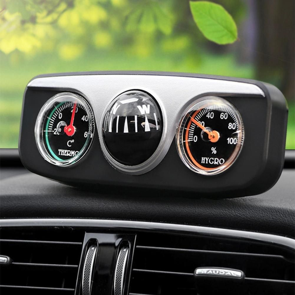 Car Vehicle Navigation Ball Compass Thermometer Hygrometer Interior Accessories - Black