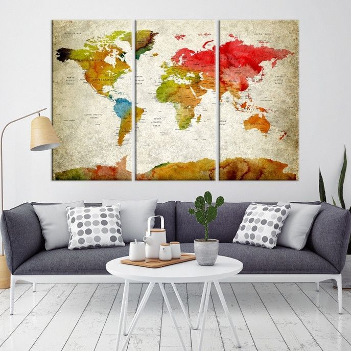 12686 - World Map Wall Art - World Map Push Pin Travel- Push Pin ...