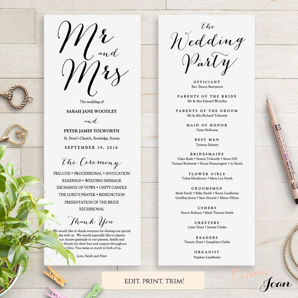 Sweet Bomb Printable Wedding Order Of Service Template  Wedding