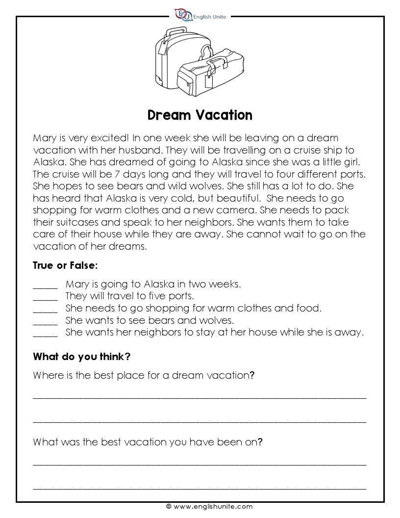 - Short Story - Dream Vacation Short Reading Passage, Short