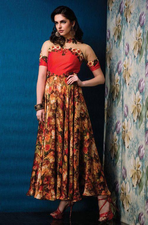 Beige & Red Designer Party Wear Gown