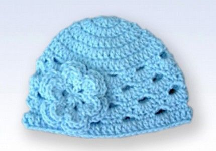 Crochet Patterns Baby Hats With Flowers : Crochet Beanie Hat Cap With Flower - Baby Blue Crochet ...