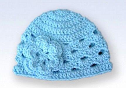 Crochet Beanie Hat Cap With Flower Baby Blue Free Crochet