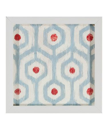 Take a look at this Red & Blue Dot Ikat Framed Print by PTM Images on #zulily today!