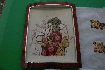 Geisha with Hairpin machine embroidery design