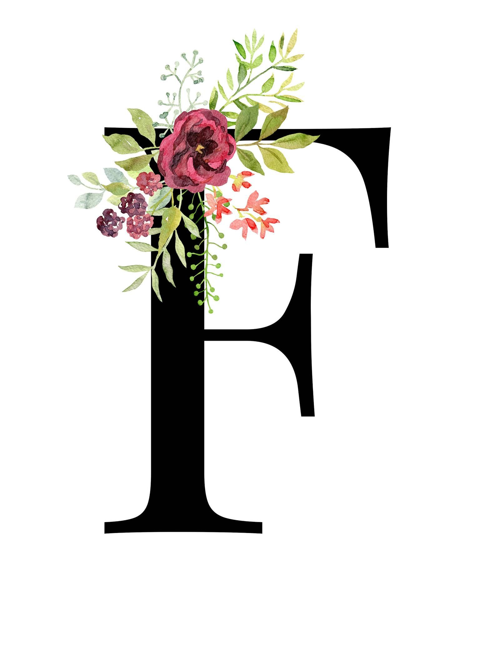 Letter F Floral Monogram Printable Letter Nursery Art