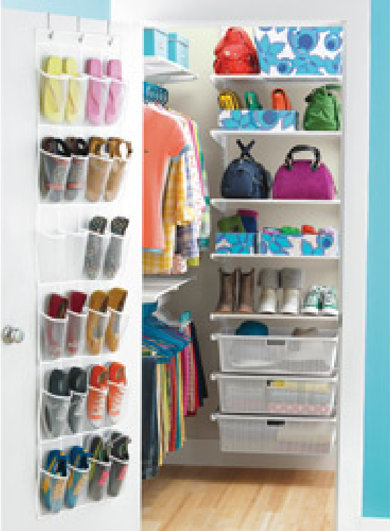 Delicieux The Container Store White Elfa Walk In Teen Closet: Shoe Rack On Door, Two  Rows Of Rods For Shirts