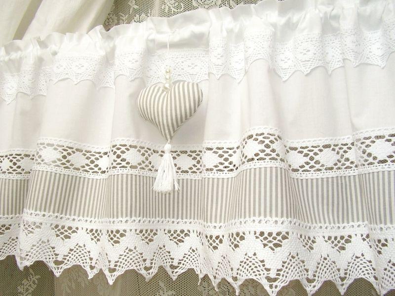 Shabby Chic Landhaus Gardine Vintage Weiss Grau 236