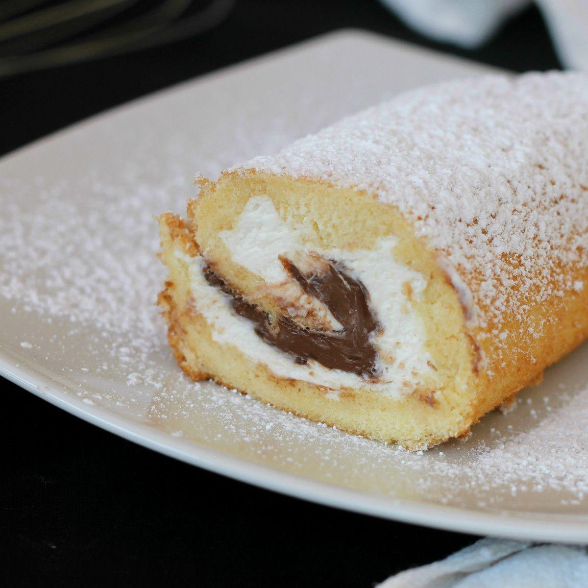 MASCARPONE E NUTELLA ROTOLO DI PAN DI SPAGNA ricetta