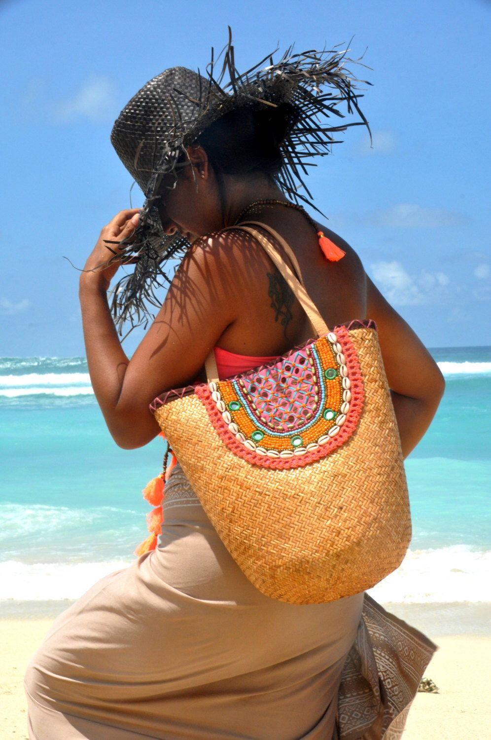 SALE!!! Beach bag Straw/Tassels straw basket/Straw beach bag/Beach ...