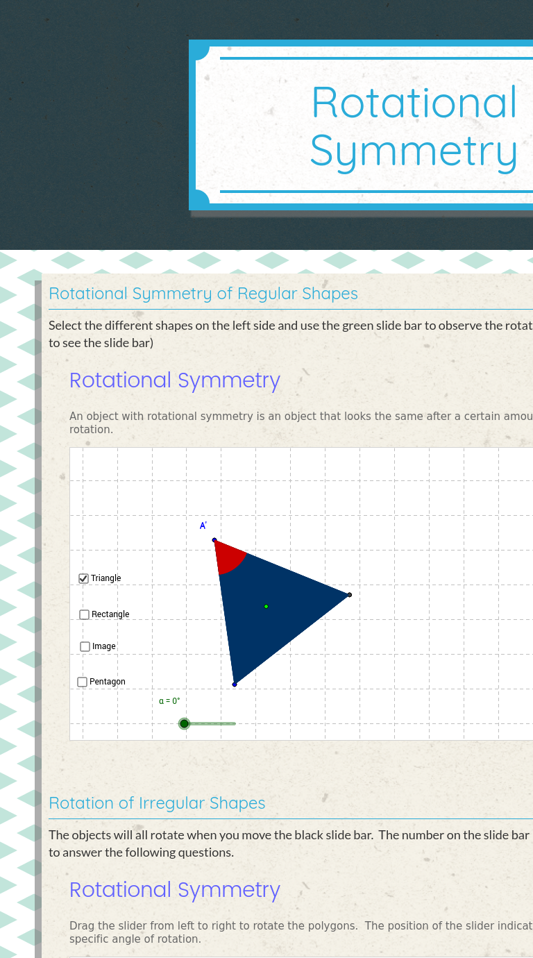 Use this Wizer.Me? blended worksheet \Rotational Symmetry\ with your  students or create your own.   Rotational symmetry [ 1380 x 768 Pixel ]
