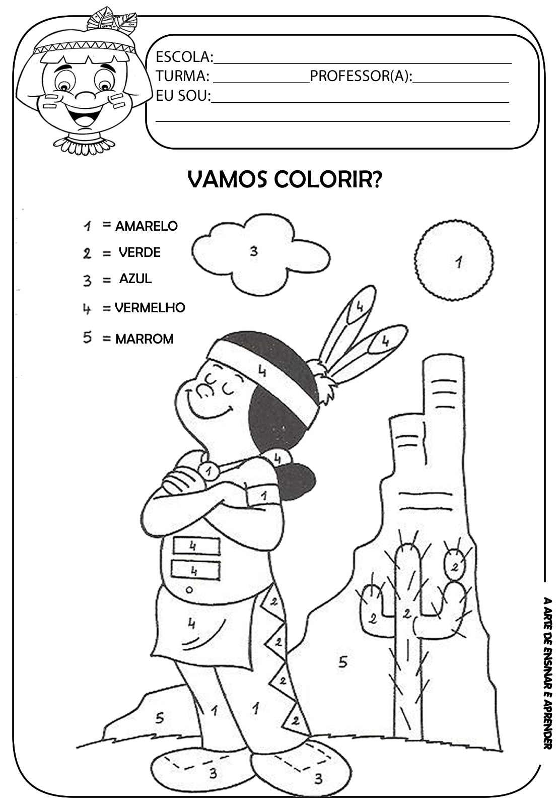 Atividades Indios Colorir De Acordo Ao Numeral Atividade Dia