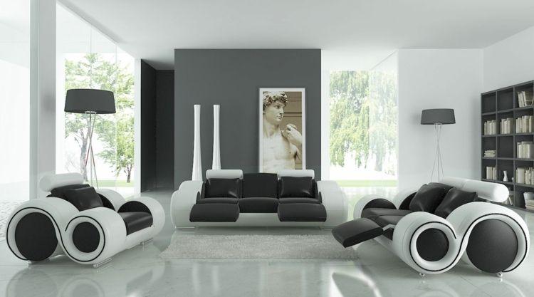 Die Wohnzimmer Möbel können eine originelle Form besitzen und ein - wohnzimmer modern schwarz wei