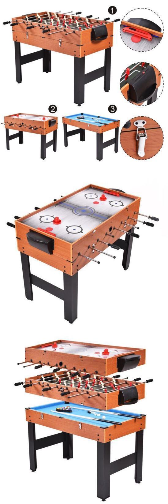 Foosball 36276: Multi Game Table Combo 3 In 1 Pool Billiards Air Hockey  Foosball Soccer