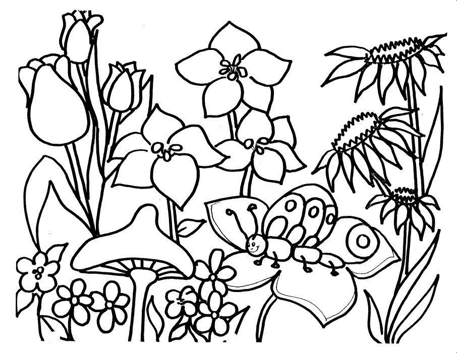 Spring Flowers Coloring Pages Printable Spring Coloring Page Spring Coloring Page Printable Flower Coloring Pages Garden Coloring Pages Spring Coloring Pages