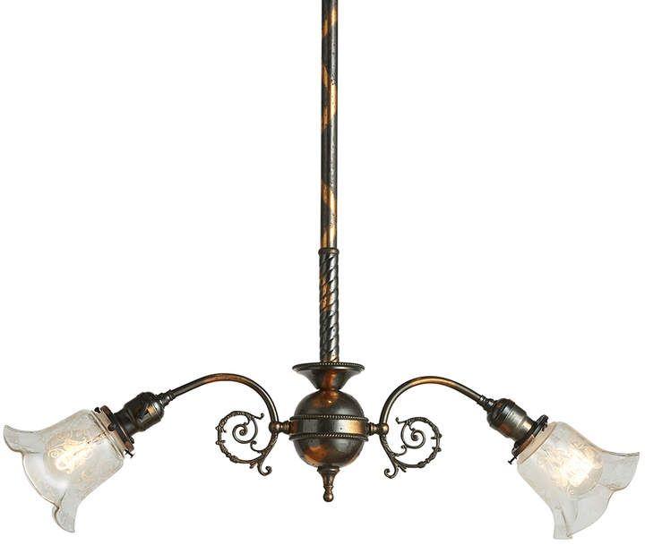 Rejuvenation Japanned Copper 2 Light Victorian Pendant W Original