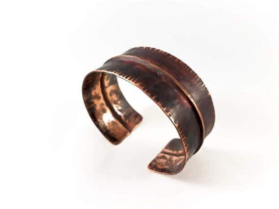 Foldformed Bracelet Cuff Copper Fold Formed Hammered Textured Dark Torch Patina Rustic Steampunk Copper Cuff Bracelet Copper Cuff Cuff Bracelets